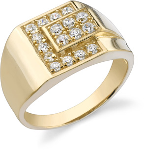 Men's Cubic Zirconia Stone Ring, 14K Yellow Gold