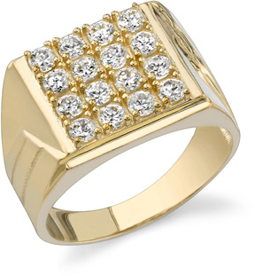 Men's Square CZ Ring, 14K Yellow Gold