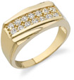 2 Row Men's CZ Ring, 14K Yellow Gold