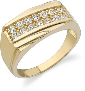 2 Row Men's CZ Ring, 14K Yellow Gold (Rings, Apples of Gold)