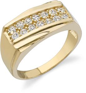 2 Row Men's CZ Ring, 14K Yellow Gold