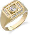 Bezel Set Men's CZ Ring, 14K Yellow Gold