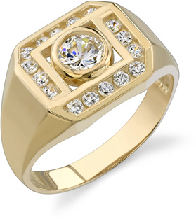 Buy Bezel Set Men's CZ Ring, 14K Yellow Gold