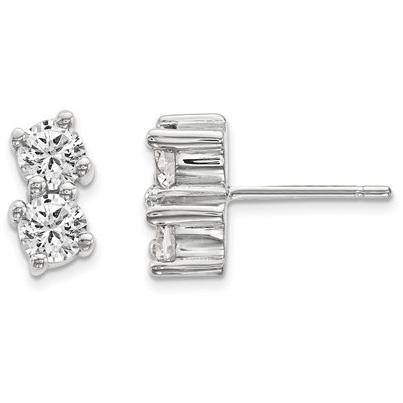 1 Carat Two-Stone Diamond Earrings in 14K White Gold