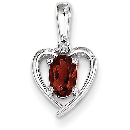 Heart Design Garnet and Diamond Pendant