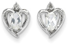 Heart Design Oval White Topaz and Diamond Earrings