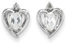 Heart Design Oval White Topaz and Diamond Earrings
