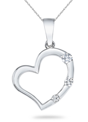Buy Three Stone Diamond Heart Pendant, 14K White Gold