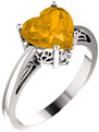 Large 8x8mm Heart-Shaped Citrine Silver Ring