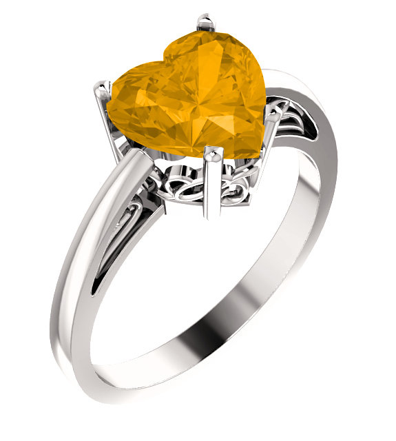 Heart-Shaped 8mm x 8mm Citrine Ring in White Gold