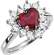 Heart-Shaped Garnet and 0.40 Carat Diamond Halo Ring