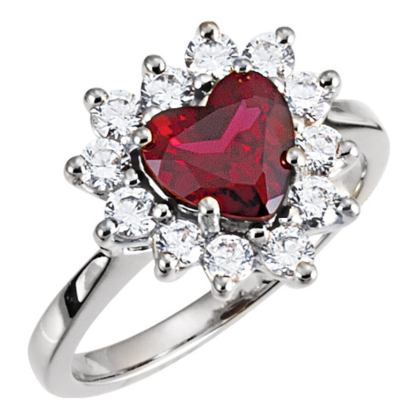 Heart-Shaped Garnet and CZ Halo Ring in Sterling Silver