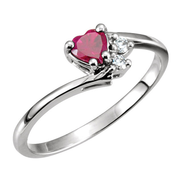 Heart-Shaped Garnet and Two Diamond Accent Ring
