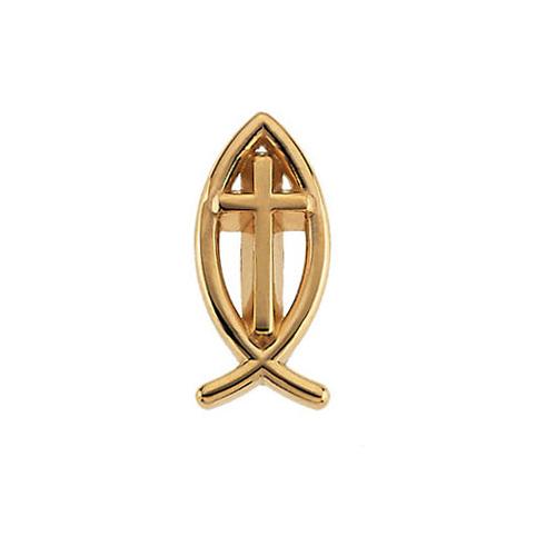Ichthus Cross Lapel Pin, 14K Gold