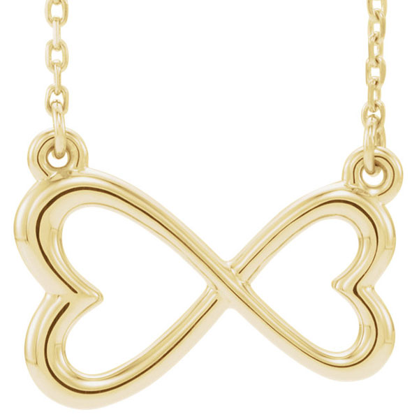 Infinity Double Heart Necklace in 14K Yellow Gold