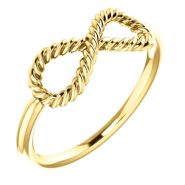 Infinity Rope Design Ring, 14K Yellow Gold