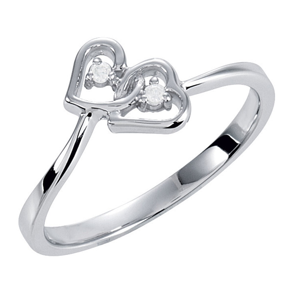 Interlocking Double Diamond Heart Ring