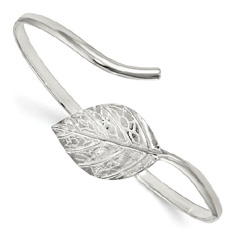 Leaf Design Adjustable Bangle Bracelet in Sterling Silver