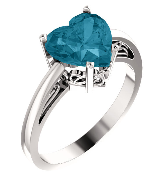 London Blue Topaz Heart-Shaped Ring in White Gold