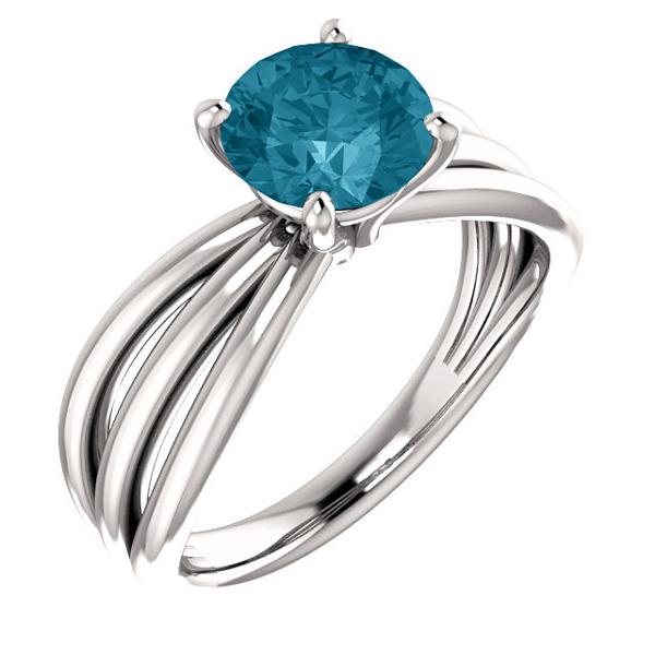 London Blue Topaz Trinity Band Ring, 14K White Gold