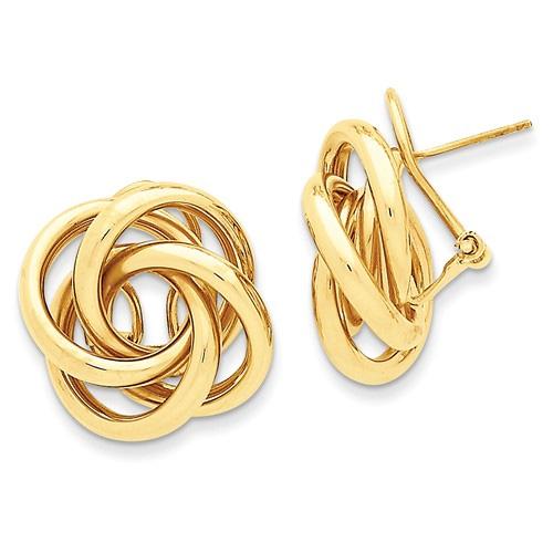 Love Knot Tube Earrings in 14K Gold