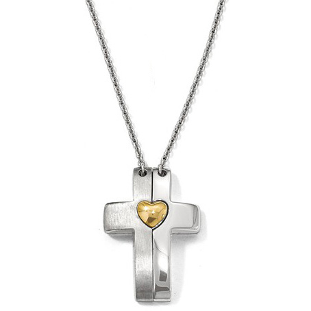 Magnetic Cross and Heart Silver & Gold-Plated Necklace