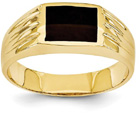 Men's 14K Yellow Gold Black Onyx Ring