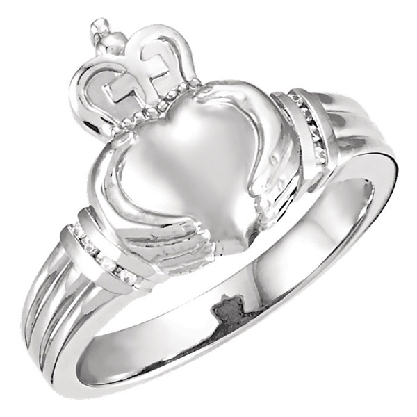 Mens Claddagh Diamond Ring in 14K White Gold