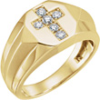 1/3 Carat Men's Diamond Cross Ring in 14K Gold