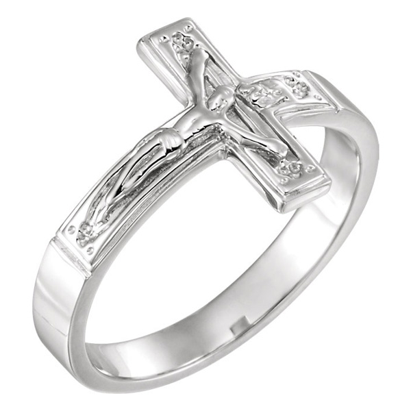 Men's 14K White Gold Crucifix Ring