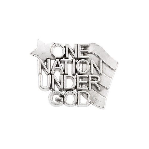 One Nation Under God Lapel Pin, 14K White Gold