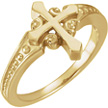 Ornate Beveled Cross Ring for Women in 14K Gold