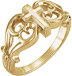 Ornate Design Cross Ring for Women in 14K Gold