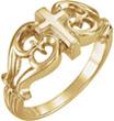 Ornate Design Cross Ring for Women in 14K Gold