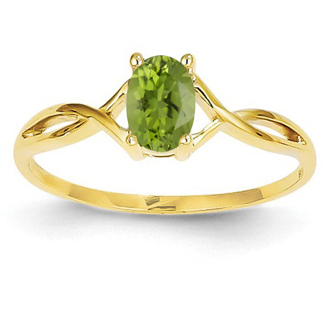 Oval Peridot Birthstone Ring in 14K Yellow Gold