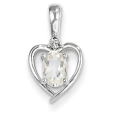 Oval White Topaz and Diamond Heart Pendant, 14K White Gold