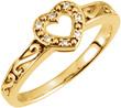 Gold Paisley Scroll Diamond Heart Ring