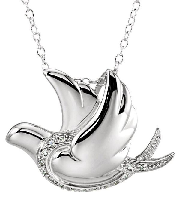 Peace of the Holy Spirit Dove Necklace in Sterling Silver