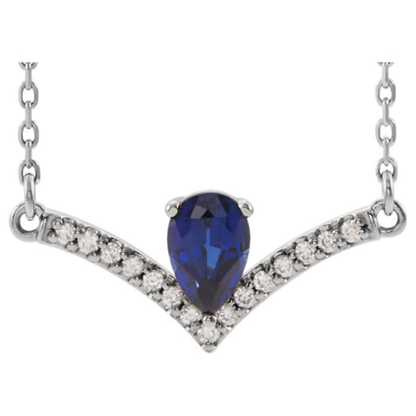 Pear-Shaped Blue Sapphire and Diamond V Bar Necklace, 14K White Gold