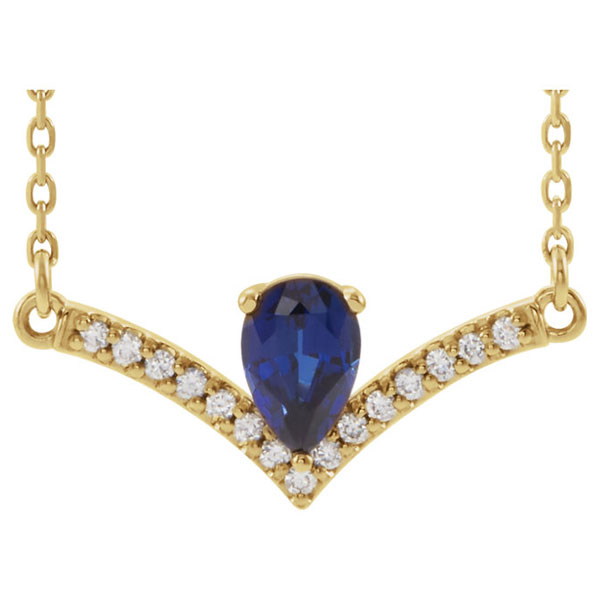 Pear-Cut Sapphire and Diamond V Bar Necklace in 14K Gold