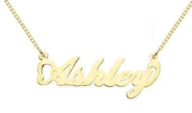 14K Solid Yellow Gold Custom Name Pendant, Ashley Design (Apples of Gold)
