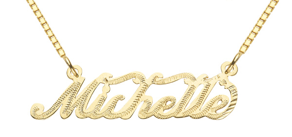 14K Solid Yellow Gold Custom Name Pendant, Michelle Design
