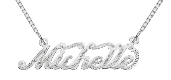 Custom Name Pendant, 14K Solid White Gold, Michelle Design