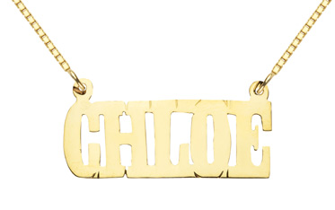 Custom Name Pendant, 14K Solid Yellow Gold, Chloe Design