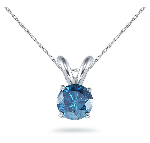 1/2 Carat Blue Diamond Solitaire Pendant