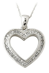 Buy Diamond Heart Pendant, 10K White Gold
