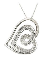 Buy Double Heart Diamond Pendant 10K White Gold