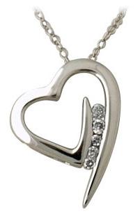 Buy 5 Stone Diamond Heart Pendant 14K White Gold