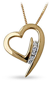 Buy 5 Stone Diamond Heat Pendant, 14K Yellow Gold