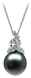 Natural Black Pearl & Diamond Drop Pendant 14K White Gold